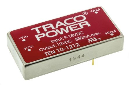 TRACOPOWER TEN 10 10W Isolated DC-DC Converter Through Hole, Voltage in 9 → 18 V dc, Voltage out 12V dc