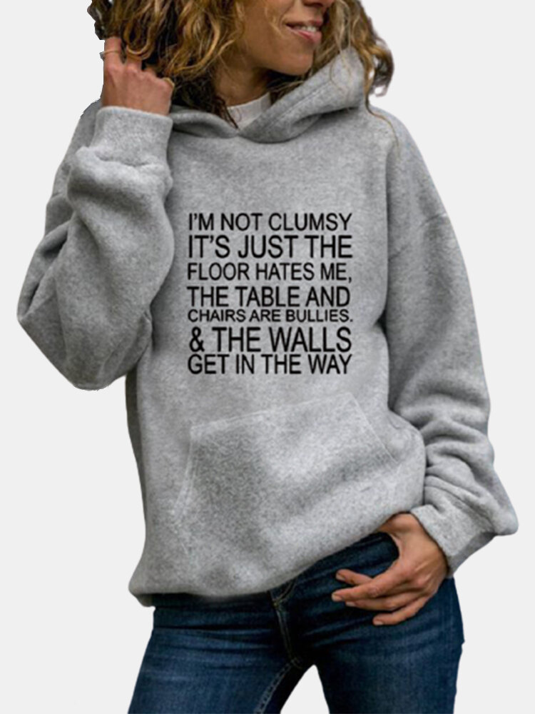 Text Printed Casual Long Sleeve Hoodie For Women