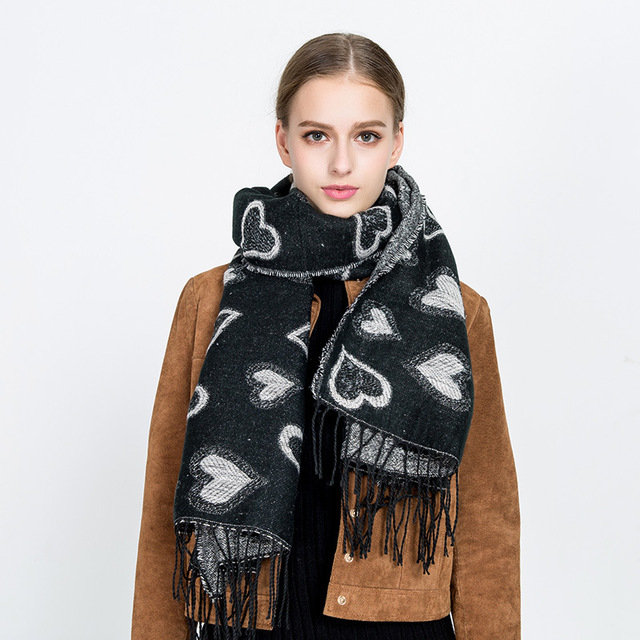 New Love Heart-shaped Pattern Silver Silk Cashmere Tassel Scarf Shawl Female Dual-use Thick Warm