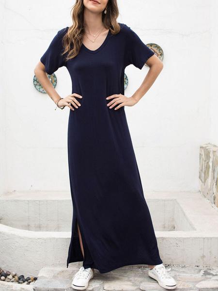 Milanoo Vestidos largos de mujer Vestido largo de mezcla de algodon con cuello en V de manga corta azul marino oscuro