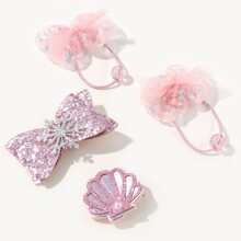 4pcs Toddler Girls Bow Hair Accessory