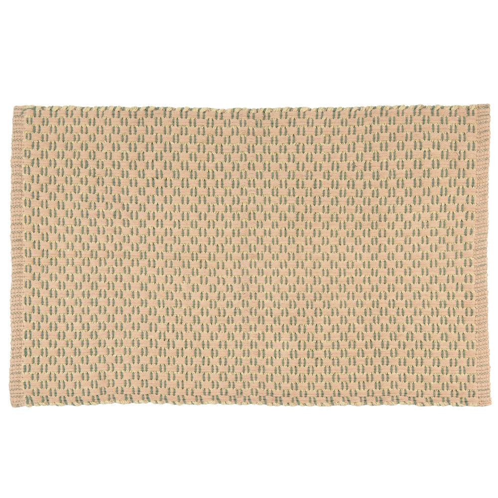 Teppich, gruen, goldfarben und beige, gemustert 60x90