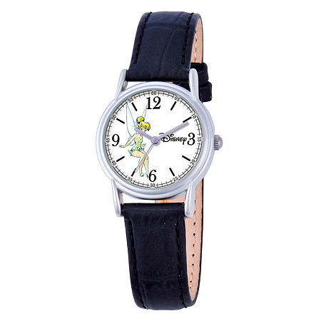 Disney Tinker Bell Womens Black Leather Strap Watch-W000550, One Size , No Color Family