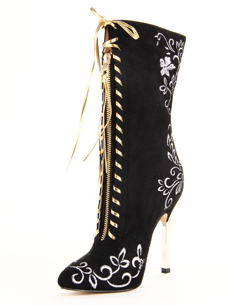 Milanoo Popular Black Pointed Toe Stiletto Heel Micro Suede Women's Mid Calf Boots