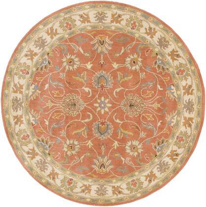 Caesar CAE-1124 4' Round Traditional Rug in Camel  Moss  Aqua  Medium Grey  Burnt Orange  Dark