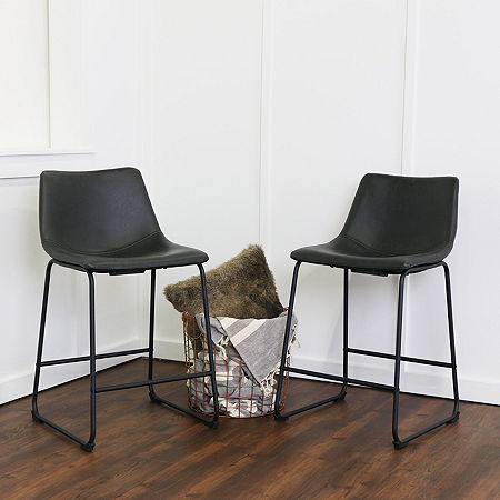 2-pc. Faux Leather Dining Kitchen Counter Stools, One Size , Black