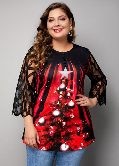 Christmas Women'S Black Three Quarter Sleeve Xmas Tree Print Blouse Plus Size Mesh Panel Tunic Casual Top By Rosewe - 3X