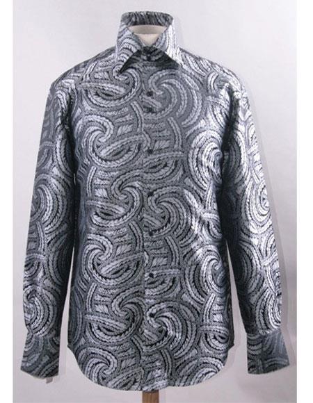 Mens High Collar ~ Shiny ~ Silky Fabric Black White Shirts