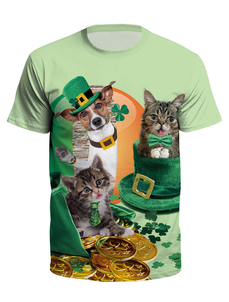 Milanoo T Shirt Green St Patricks Day 3D Print Dog Cat Clover Unisex Irish Short Sleeve Top Halloween