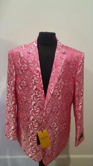 Floral Fuchsia Sportcoat Shiny Fashion Blazer For Men Dinner Jacket