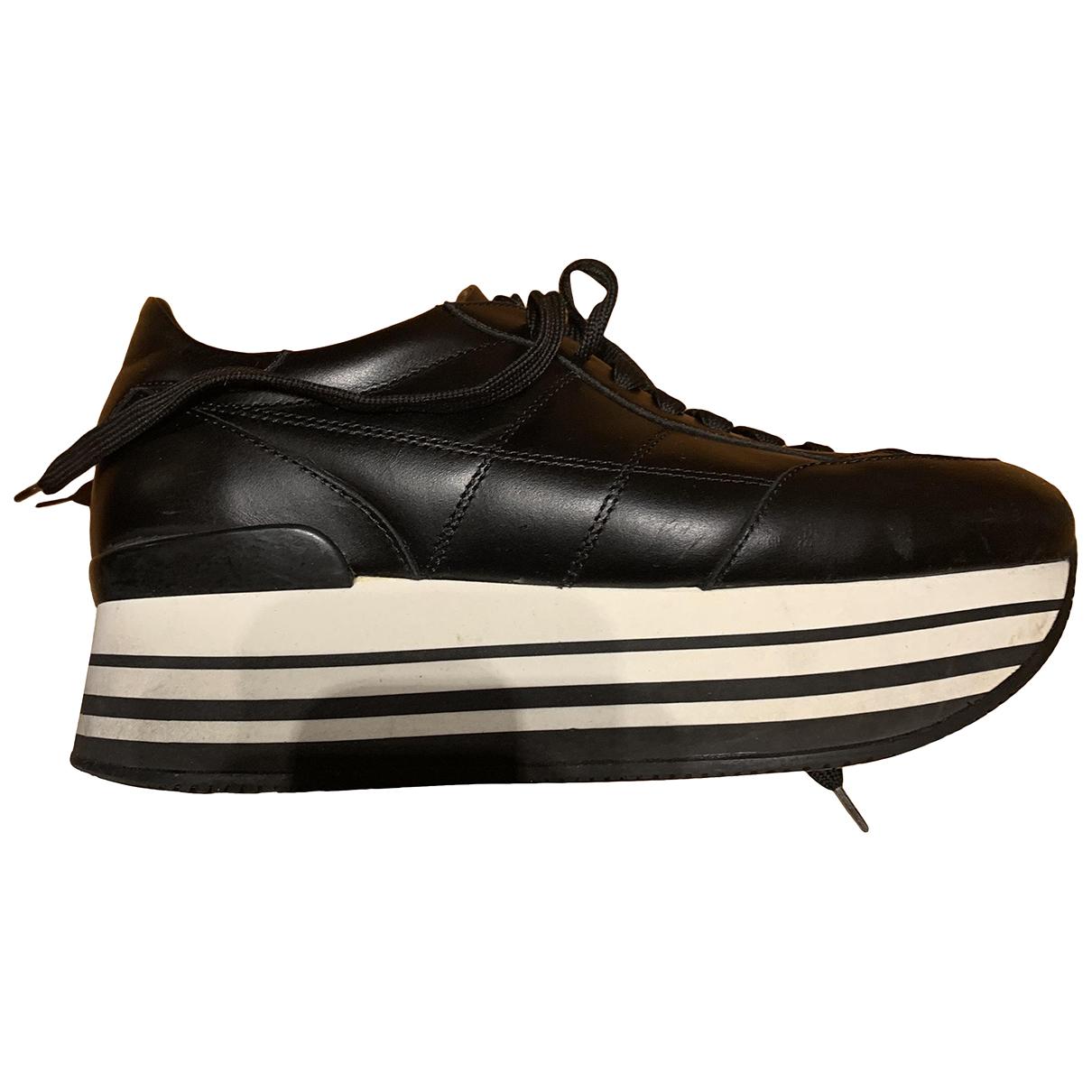 Hogan N Black Leather Trainers for Women 38.5 EU