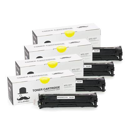 Compatible Canon 131Y cartouche d'encre jaune - Moustache - 4/paquet