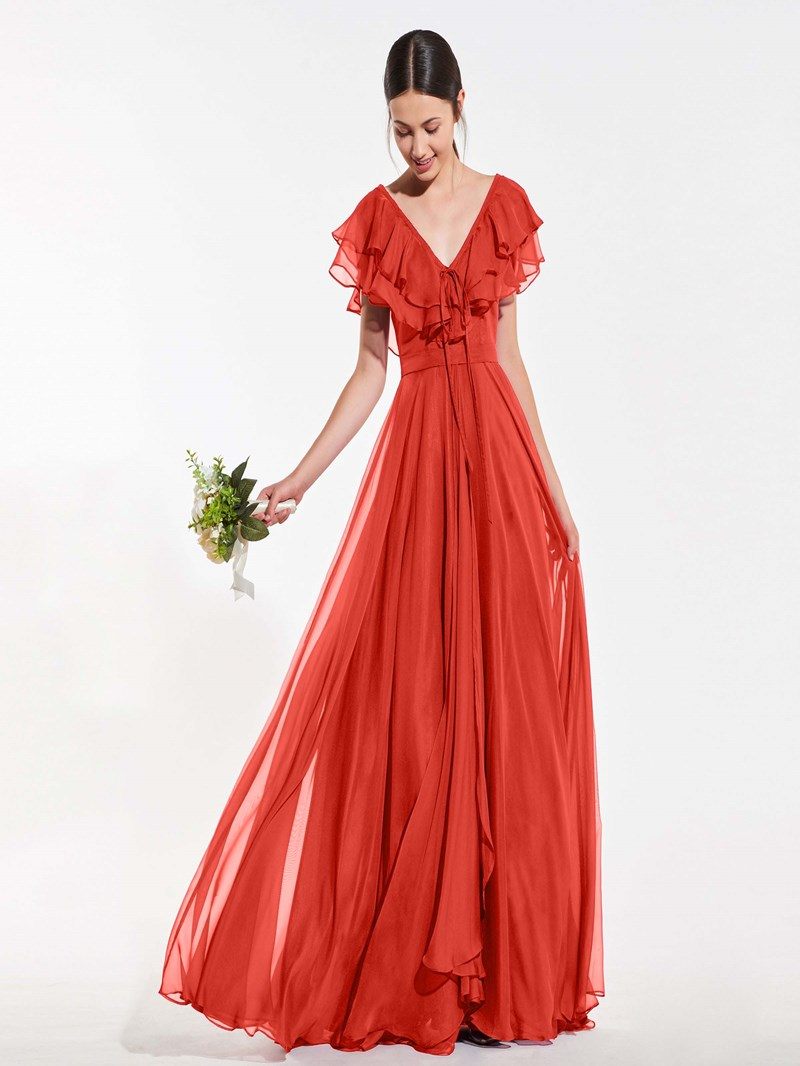 Ericdress A Line V Neck Ruffles Long Bridesmaid Dress