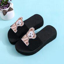 Girls Cartoon Patch Thick Soled Slides
