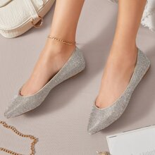 Faux Crystal Slip-On Ballerina Flats