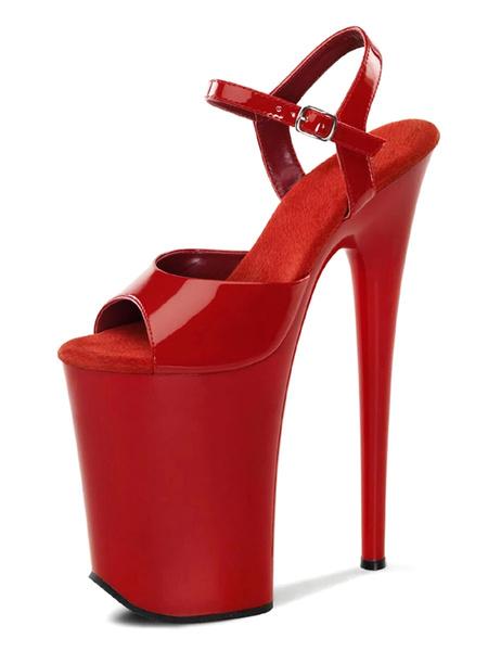 Milanoo High Heel Sexy Sandals Black PU Leather Peep Toe Monk Strap Sexy Shoes