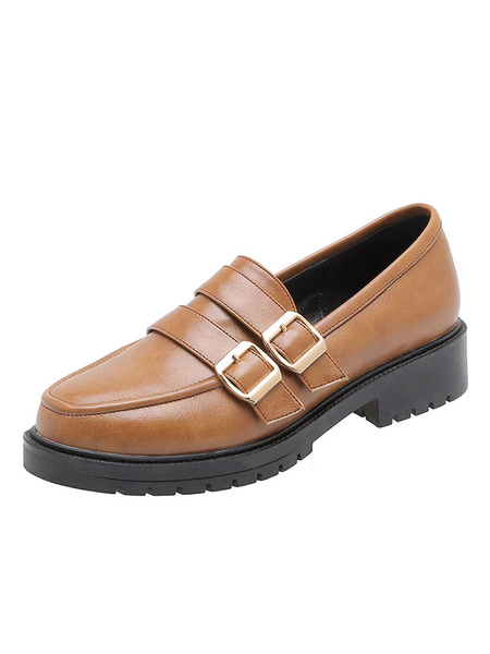 Milanoo Women\'s Loafers Academic Round Toe Casual Shoes With Buckles