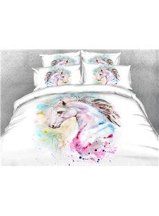 Colorful Unicorn Soft Warm Duvet Cover Set 4-Piece 3D Animal Bedding Set
