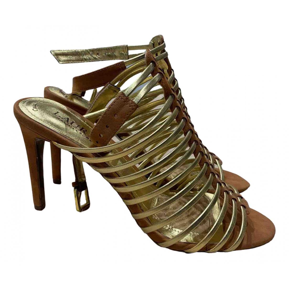 Ralph Lauren - Escarpins   pour femme en cuir - dore
