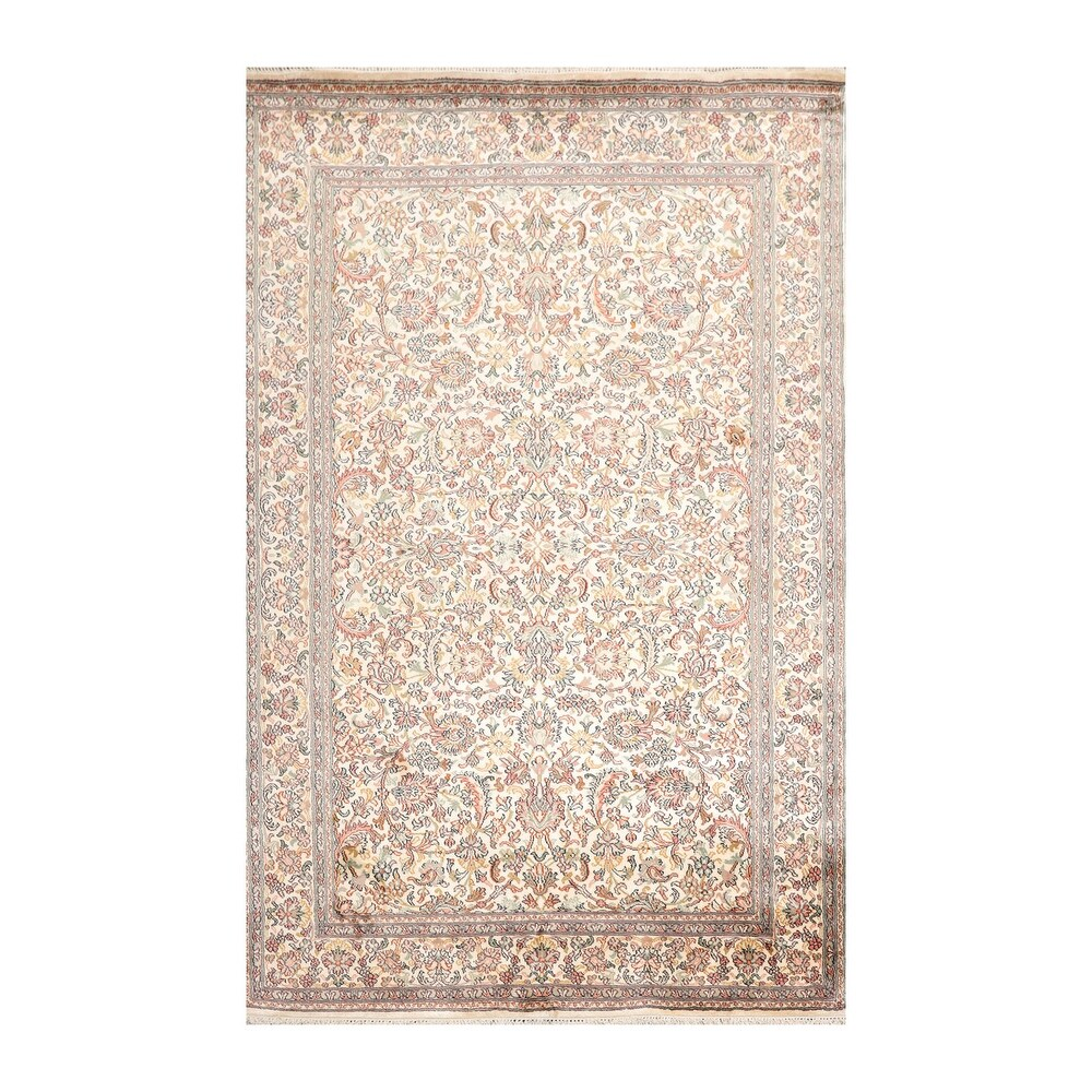 Hand Knotted  Red,Beige Persian Silk Traditional Oriental Area Rug (3x5) - 4'  x 6' (Ivory - 4' x 6')