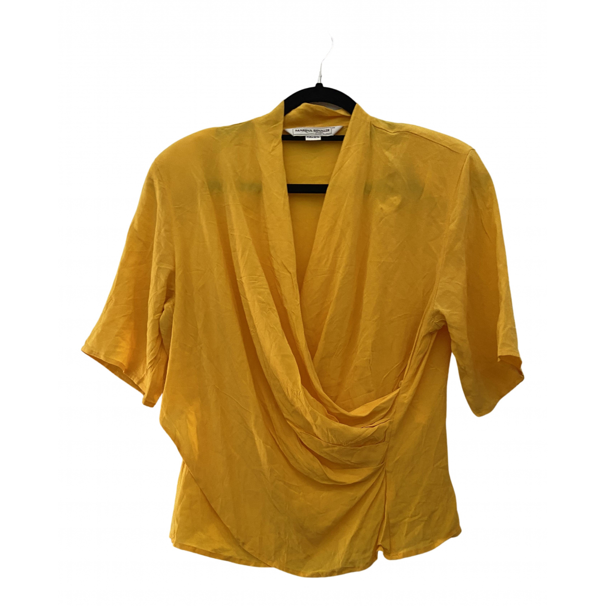 Non Signé / Unsigned N Yellow Silk  top for Women M International