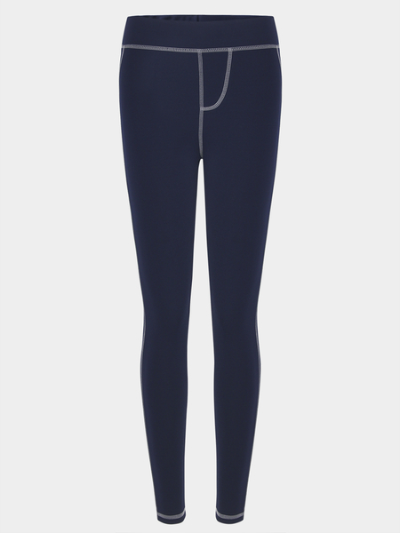 Yoins Stitching Design Bodycon fit Elastic Trousers in Dark Blue