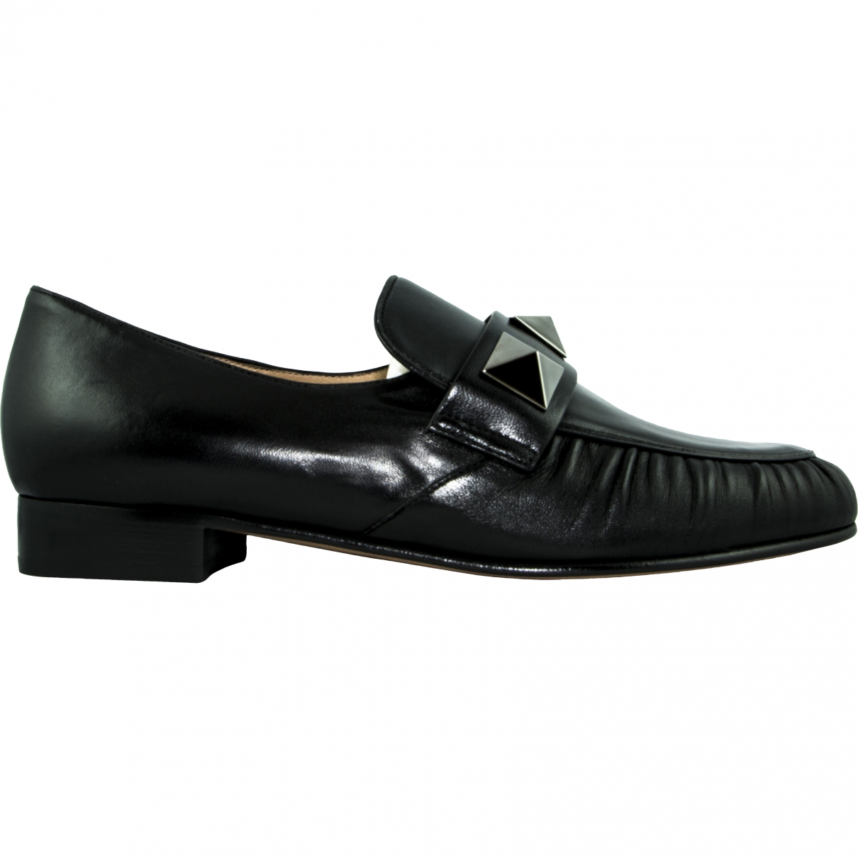 Valentino Garavani Rockstud Black Leather Flats for Women 38 EU