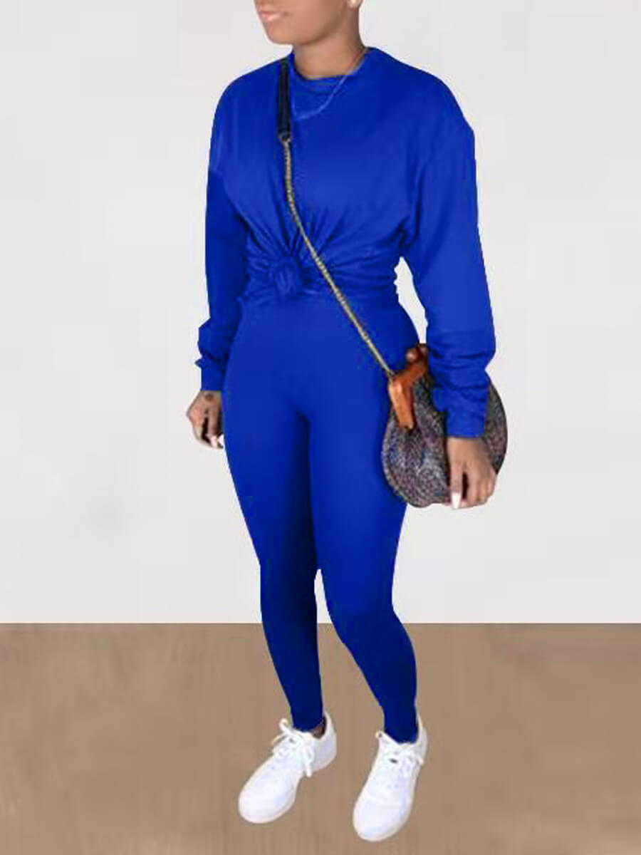 LW Lovely Casual O Neck Basic Skinny Blue Two Piece Pants Set