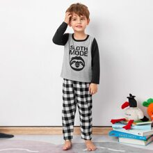Toddler Boys Cartoon And Gingham PJ Set