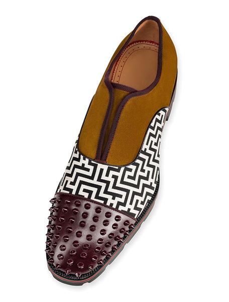 Milanoo Zapatos de vestir para hombre Gamuza con punta redonda de retazos con remaches impresos Calzado casual de trabajo