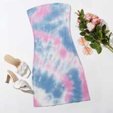 Tie Dye Rib-knit Tube Fitted Dress