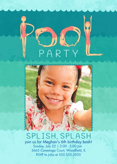 Kids Birthday Party Invites Mail-for-Me Premium 5x7 Folded Card , Card & Stationery -Wave of a Party Girl