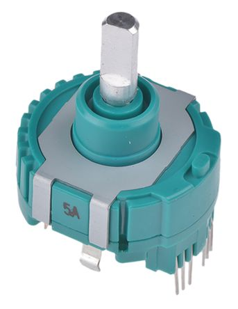 Alps Alpine 40 Pulse Incremental Mechanical Rotary Encoder with a 4 mm Flat Shaft (Not Indexed), Through Hole