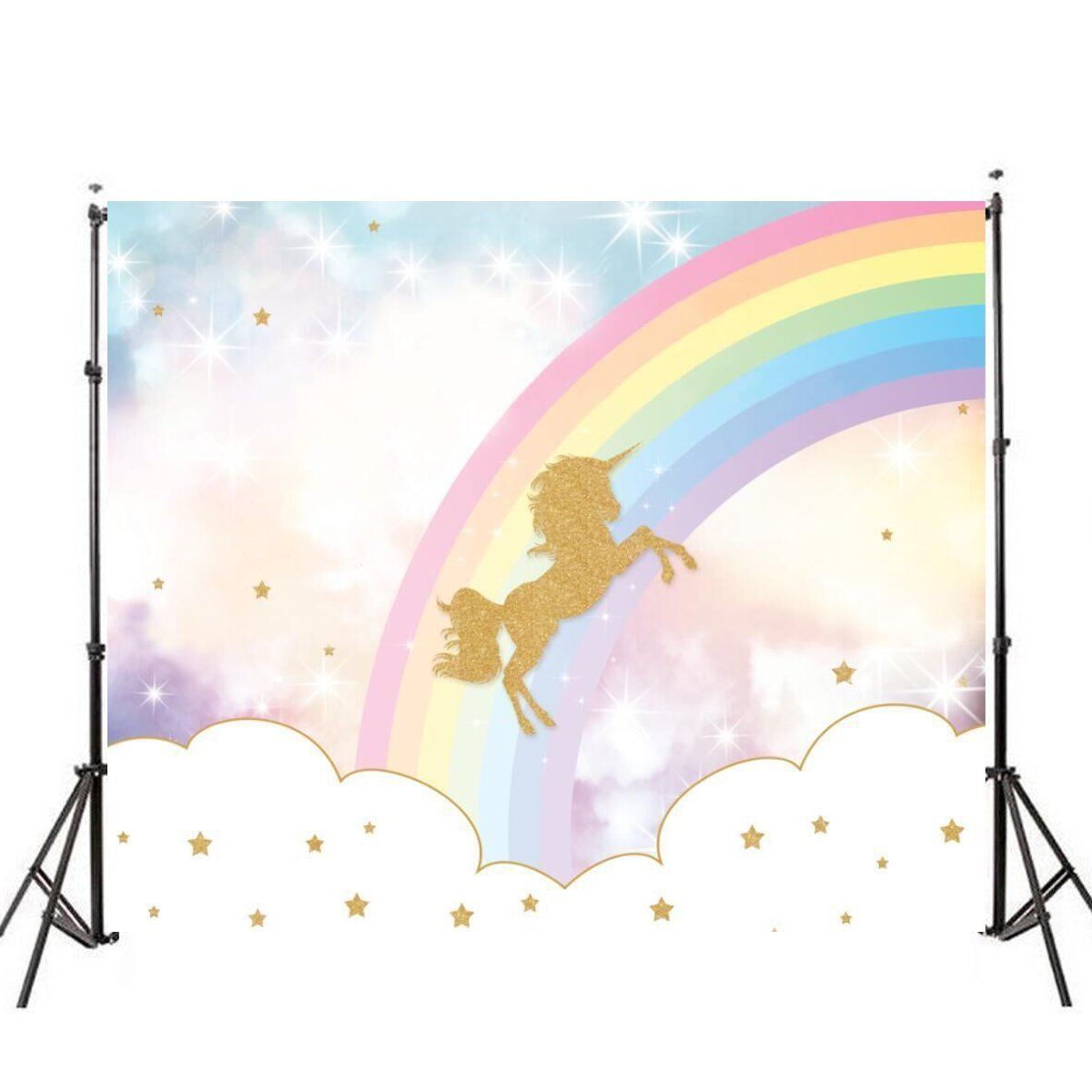 7x5FT Rainbow Sky Gold Unicorn Stars Baby Custom Photo Background Backdrop Vinyl