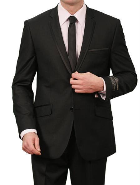 2 Button Black Satin Front Closure Slim Fit Suit Mens Cheap