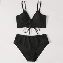 Lace-up Front Bikini Swimsuit