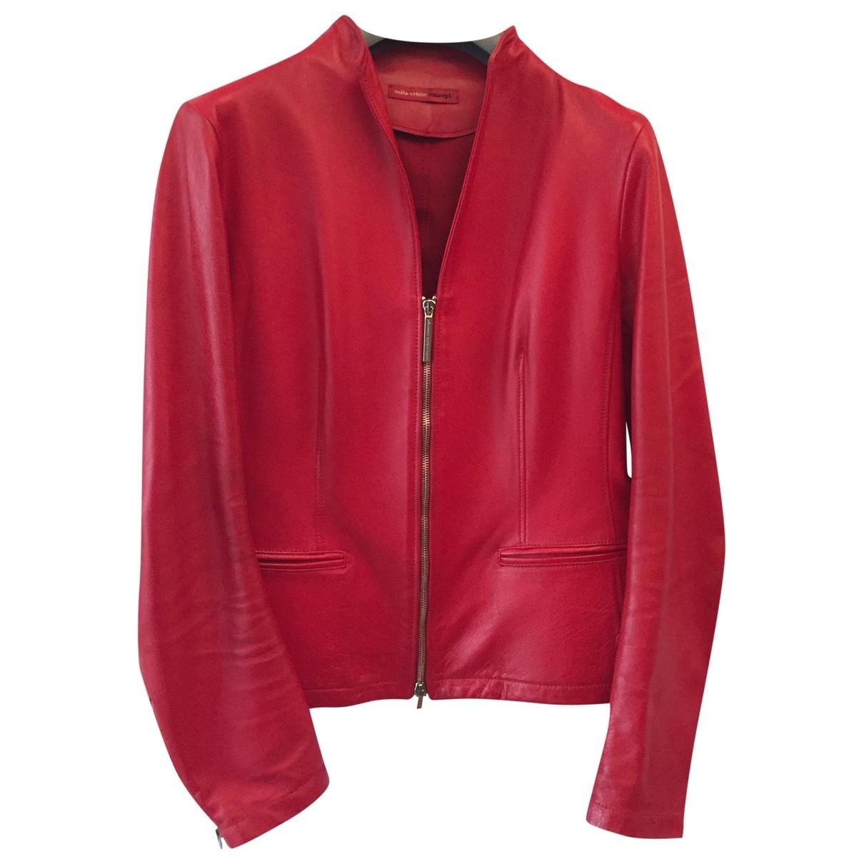 Mila Schon Concept - Blouson   pour femme en cuir - rouge
