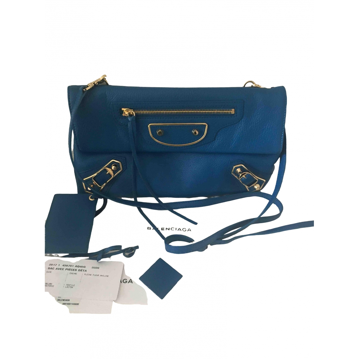 Balenciaga - Sac a main Envelop pour femme en cuir - bleu