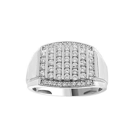 Mens 1/2 CT. T.W. Genuine White Diamond 10K White Gold Fashion Ring, 12 , No Color Family