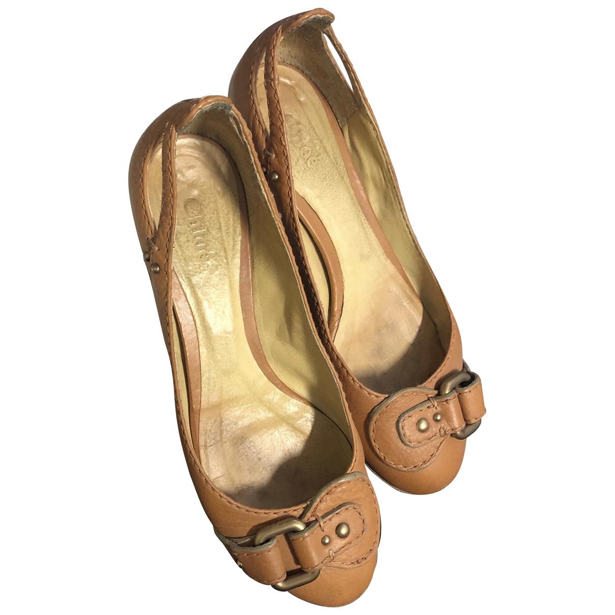 Chloé \N Beige Leather Ballet flats for Women 37 EU