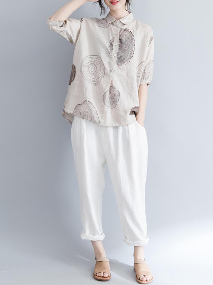 Women Long Sleeve Floral Print Lapel Button Blouse