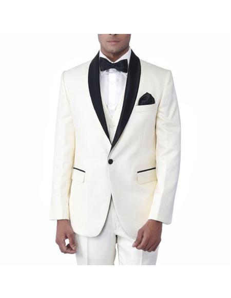 Men's Cream Single Breasted One Button Tuxedo Shawl Lapel