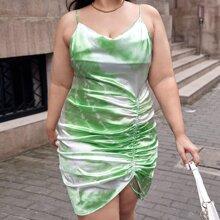 Cami Kleid mit Ruesche, Kordelzug vorn und Batik