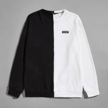 Sweatshirt mit Farbblock und Flicken Detail