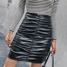 Ruched PU Bodycon Skirt
