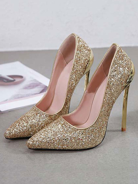 Milanoo Gold Prom Heels Glitter High Heel Party Shoes Pointed Toe Pumps