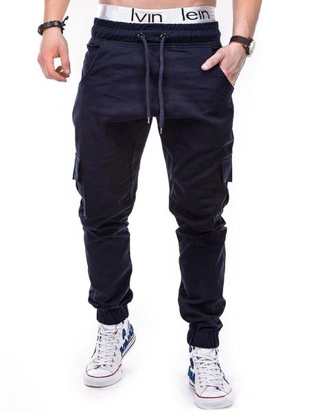 Milanoo Men Pant Khaki Pocket Drawstring Jogger Pant Tapered Fit Track Pant