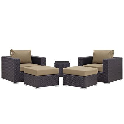 Convene Collection EEI-1809-EXP-MOC-SET 5 PC Outdoor Patio Sectional Set with All-Weather Fabric Cushions  Powder Coated Aluminum Frame and Synthetic