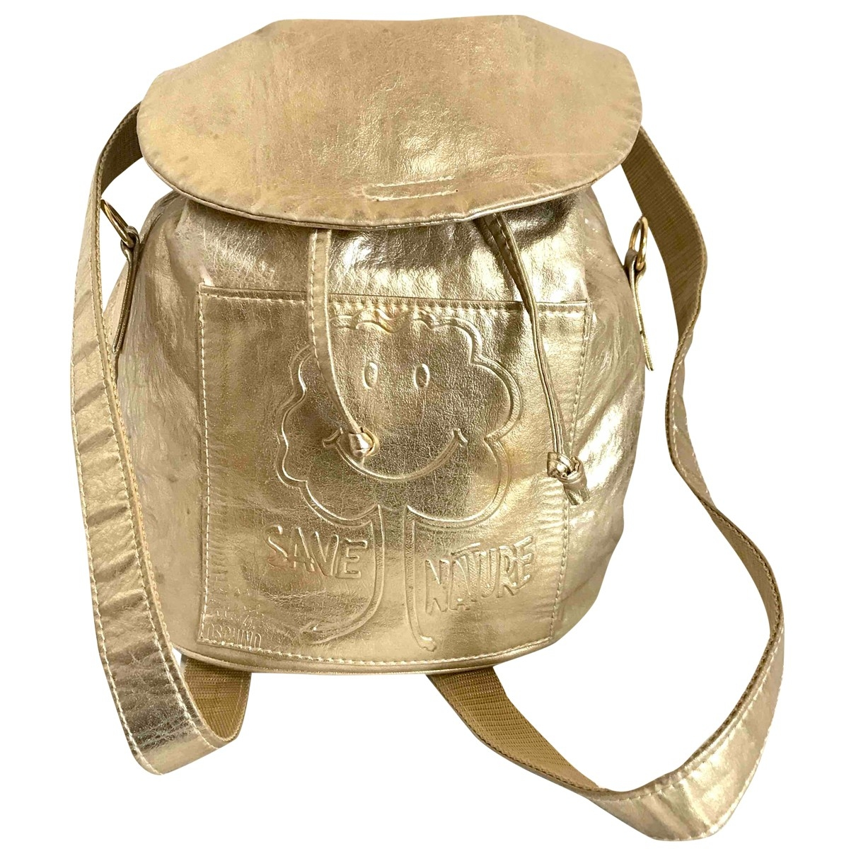 Moschino - Sac a dos   pour femme en cuir - dore