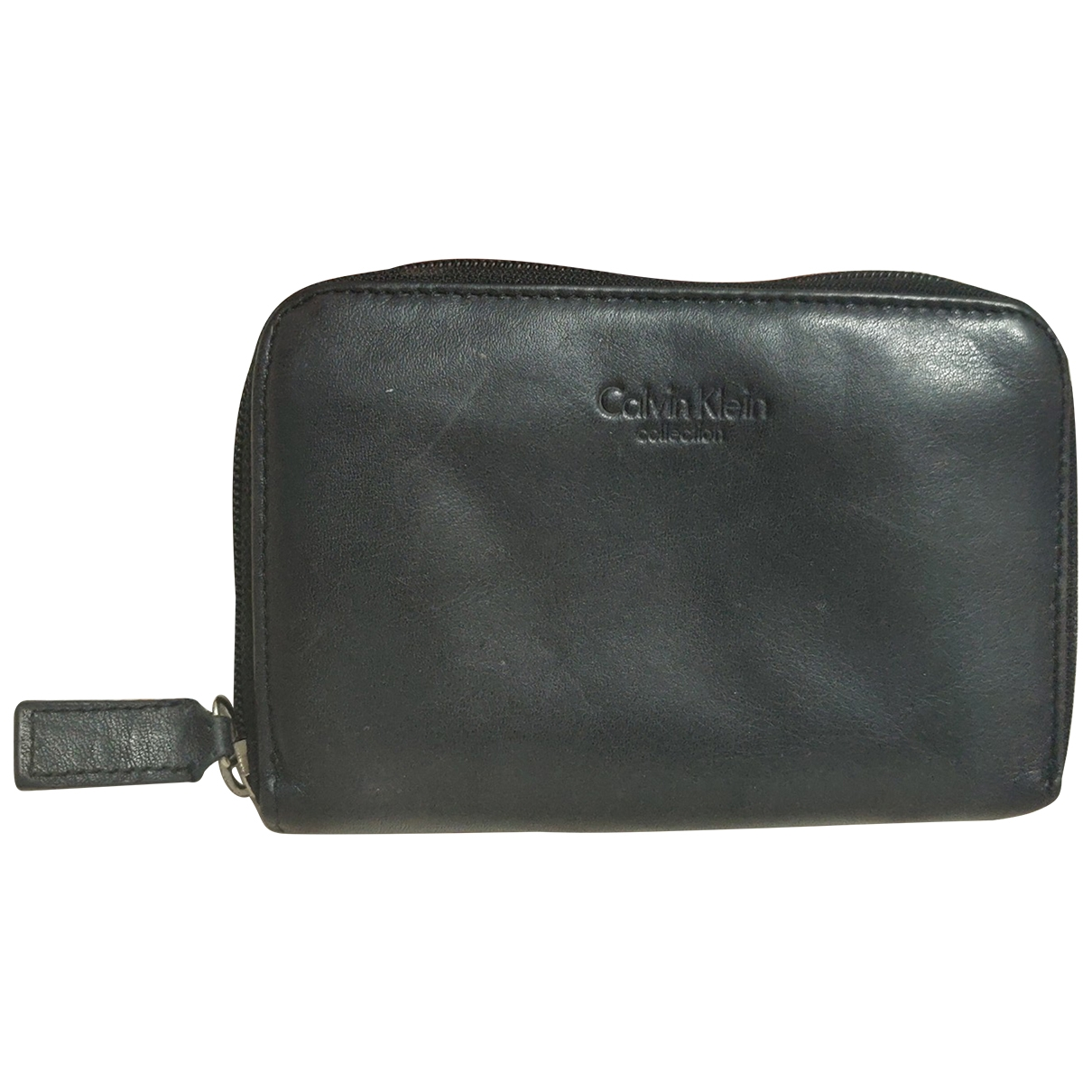 Calvin Klein Collection \N Portemonnaie in  Anthrazit Leder